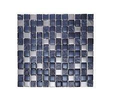 Slate Silver/Black Square Mosaic Tile