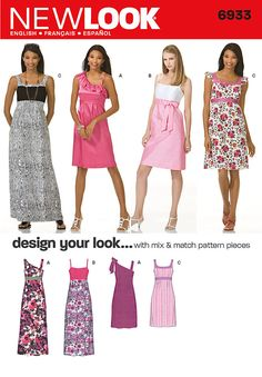 misses dress in two lengths with bodice variations