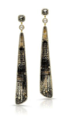 Pamela Huizenga 18k gold earrings with long Fossilized Oak, white rose cut diamonds, Black