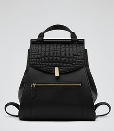 Alto Black Quilted Leather Rucksack - REISS