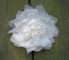 Organza Bridal Flower, Wedding Flower, White Fascinator, Hair Flower, Stamens, Pearls. $48.00, via Etsy.