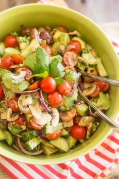 Looking for a quick and easy salad recipe that's super tasty, fresh and crisp and goes good with just about anything? Look no further, this is it right here!
