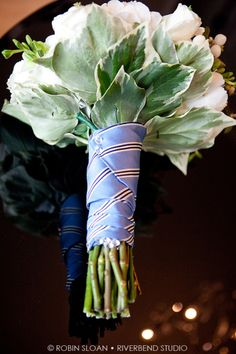 Something borrowed and/or something blue: Grandpa's tie to wrap the bouquet. I really like this idea since not sure he can make the trans-continential journey