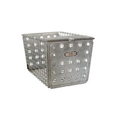 //Vintage metal locker basket //Marked The Washburn Company, Worcester, Mass, Rockford, Ill., Number 396 //Measures 13 l x 8 1/2 w x 8 h