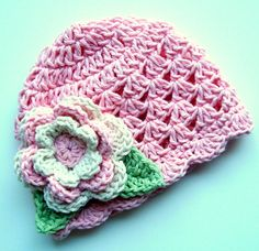 Baby Girl Hat, Baby Hat, Crochet Baby Girl Hat with Flower, Pastel Pink, Ecru, Sage Green-MADE TO ORDER via Etsy