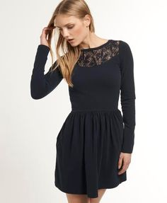 ECLIPSE NAVY Superdry Lace Skater Dress