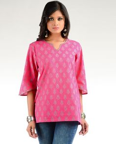 Fuchsia Block Printed Tunic