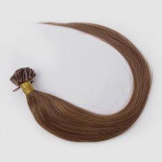 100s Straight Nail/U Tip Human Hair Extensions #6 Light Brown - Beauty #nailtiphair #fusionhair