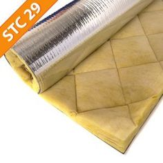 Quiet Barrier Fiberglass Composite: - a mechanically bound fiberglass blanket combined with our Quiet Barrier soundproofing material and a reinforced Mylar facing creating a Class A panel with excellent acoustical properties.
