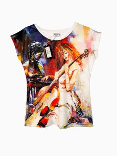 Artistic Female T-shirt  Violoncello HIGH QUALITY by ArtEgoDesigns