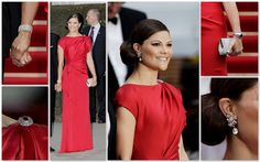 Crown Princess Victoria of Sweden in a fiery red silk Escada gown