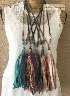 Ribbon Jewelry, Tassel Jewelry, Textile Jewelry, Fabric Jewelry, Punk Jewelry, Hippie Jewelry, Tribal Jewelry, Fabric Beads, Hippie Chic