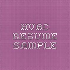 find this pin and more on hvac technician resumes - Hvac Technician Resume