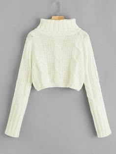 To find out about the High Neck Cable Knit Crop Sweater at SHEIN, part of our latest Sweaters ready to shop online today! Sweater Outfits, Cute Outfits, Fashion News, Fashion Outfits, Female Outfits, Beige Style, Sweater Weather, Winter Sweaters, Women's Sweaters