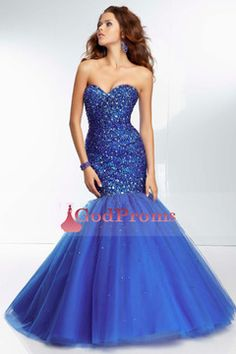 2014 Mermaid/Trumpet Prom Dress Sweetheart Tulle Floor Length Lace Up With Beadings And Sequins US$ 359.99 GODPZBG22C4 - GodProms.com for mobile