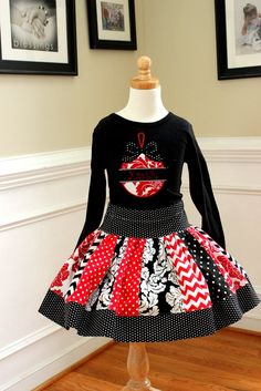 Christmas outfit Christmas skirt set Girls by LightningBugsLane, $55.00