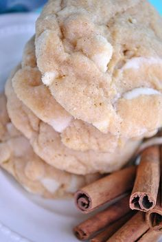 White Chocolate Snickerdoodle Pudding Cookies. I used vanilla pudding mix, these were DELISH! nice crunch on the outside from the cinnamon and sugar but soft and chewy on the inside
