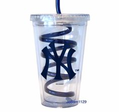 MLB New York Yankees 16 oz Swirl Straw Travel Cup - Yankees Double Wall Tumbler #NewYorkYankees