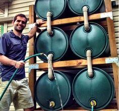 Connected rain barrels.