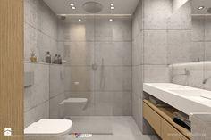 Nowoczesna łazienka - minimalistyczna aranżacja z betonem architektonicznym i umywalką podwójną na miarę Łazienka - zdjęcie od Luxum
