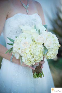 The Casino San Clemente Wedding Hydrangeas and roses wedding bouquet