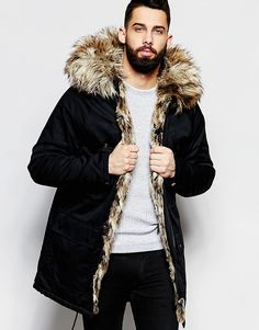 River Island | River Island Parka Jacket With Faux Fur Hood And ...