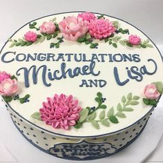 Congratulations Micheal and Lisa! We used their invitation for inspiration. Birthday Cake With Flowers, Beautiful Birthday Cakes, Beautiful Cakes, Friends Birthday Cake, Birthday Wishes, Happy Birthday, Buttercream Cake Designs, Buttercream Flowers, Congratulations Cake