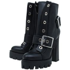 Alexander McQueen Black Leather Buckled Combat Boots Size 40 ❤ liked on Polyvore featuring shoes, boots, biker boots, black army boots, black combat boots, combat booties and black shoes