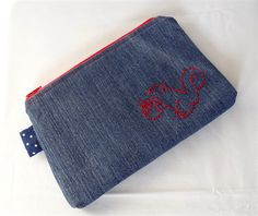Hand-Stitched Squirrel Motif Upcycled Denim Pouch