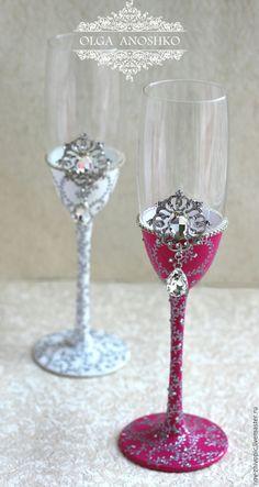 """Купить Свадебные бокалы """"Royal Wedding"""". Роспись. - фуксия, свадебные бокалы, бокалы для свадьбы"""