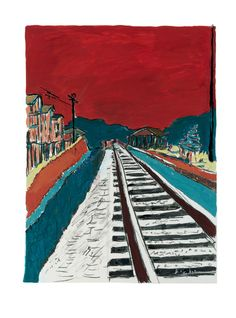 Bob Dylan, Train Track (Red Sky) at Halcyon Gallery