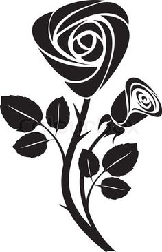 """Buy the royalty-free Stock vector """"Sketch black rose art colorful vector illustration"""" online ✓ All rights included ✓ High resolution vector file for pr. Rosa Stencil, Illustration Rose, Rose Sketch, Flower Drawing Tutorials, Stencil Printing, Silhouette Painting, Stencil Patterns, Flower Clipart, Rose Art"""