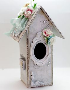 birdhouse - Scrapbook.com I know this would look beautiful with wood and picture frame around the hole