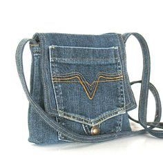 Small recycled messenger bag , Eco friendly,vegan,cotton,blue denim cross body bag , Handmade purse