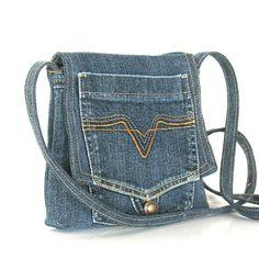 Small recycled messenger bag , Eco friendly,vegan,cotton,blue denim cross body…