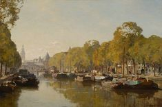 View A view on the Geldersekade with the Nieuwmarkt in the distance, Amsterdam By Cornelis Vreedenburgh; oil on canvas; 60 x 90 cm; Access more artwork lots and estimated & realized auction prices on MutualArt. Oil Painting Trees, Oil Paintings, Amsterdam Art, Dutch Painters, Impressionist Art, Dutch Artists, Art For Art Sake, Old Pictures, Art World