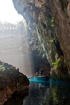 Melissani Cave or Melissani Lake, also Melisani is a cave located on the island of #Kefalonia Ionian #Greece #kitsakis