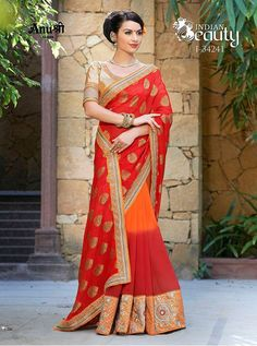 ANUSHREE SAREES RECO JACQUARD PALLU WITH GEORGETTE PADDING I-34241 HEAVY EMBROIDERED LACE BORDER WITH BLOUSE PIECE