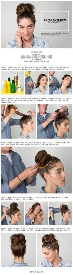DIY Super Cute Bun diy diy ideas easy diy diy beauty diy hair diy fashion beauty diy diy bun diy style diy hair style diy updo