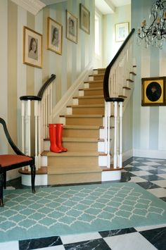 Sophisticated staircase and hallway. Photo: Susan Gouinlock.