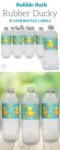 These teal blue and yellowRubber Ducky Bubble Bath Water Bottle Labelsmake the perfect finishing touch to any Rubber Ducky Themed Party or Baby Shower. #rubberduckybabyshower #rubberduckypartyfavor