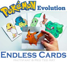 The best FREE Pokemon Papertoy yet: Pokemon Evolution Endless Cards to craft, color and flip. A must have papercraft for all Pokemon Fans!