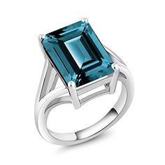 Gem Stone King 925 Sterling Silver London Blue Topaz Women's Solitaire Ring Ct Emerald Cut, Gemstone Birthstone (Available Promise Rings For Her, Blue Topaz Ring, Purple Amethyst, London Blue Topaz, Yellow Gold Rings, Rose Gold, Vintage Engagement Rings, Emerald Cut, Solitaire Ring