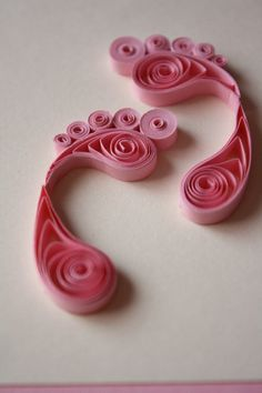 Pink Quilled Baby Feet It's a Girl Congrats by MuslimahCreations