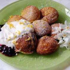 Lemon-cornmeal ebelskivers with blackberry preserves and whipped cream