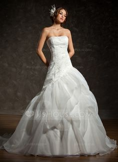 Wedding Dresses - $186.99 - A-Line/Princess Strapless Chapel Train Organza Satin Wedding Dress With Ruffle Lace Beading (002011793) http://jjshouse.com/A-Line-Princess-Strapless-Chapel-Train-Organza-Satin-Wedding-Dress-With-Ruffle-Lace-Beading-002011793-g11793