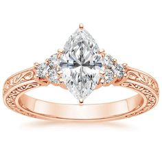 14K Rose Gold Adorned Trio Diamond Ring from Brilliant Earth