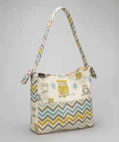 Look at this Brownie Gifts Natural Green Owl & Zigzag Diaper Bag on #zulily today!