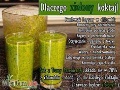 Zielone koktajle: pokrzywa + sok z trawy pszenicznej + sok jabłkowy Smoothies, Detox, Food And Drink, Health Fitness, Drinks, Green, Smoothie, Drinking, Beverages