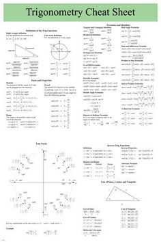 TRIGONOMETRY Cheat Sheet Poster 24X36 USER FRIENDLY educational Brand New. 24x36 inches. Will ship in a tube. - Multiple item purchases are combined the next day and get a discount for domestic and in